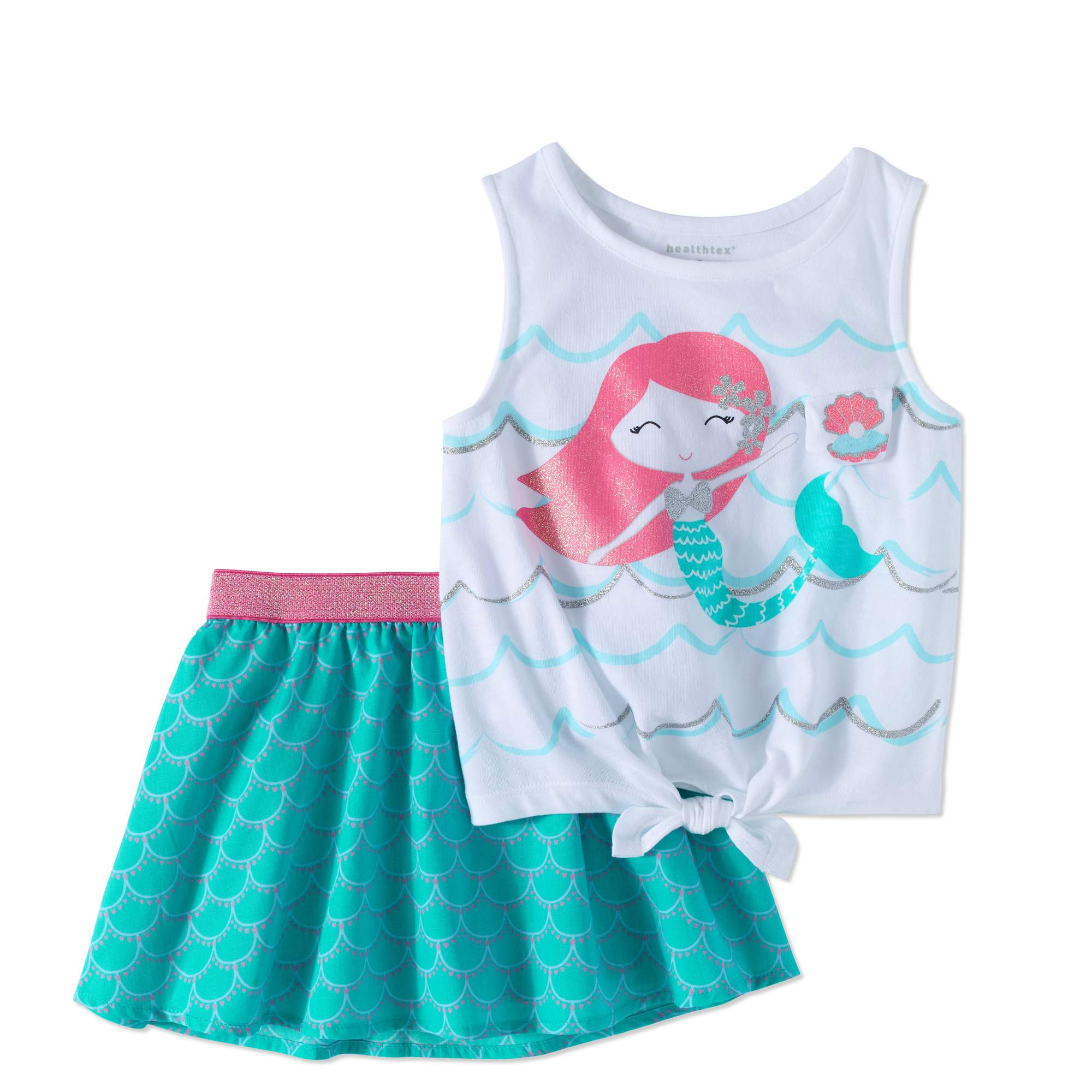 Healthtex Toddler Girl Tie-Front Tank Top & Skirt, 2pc Outfit Set