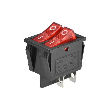 Double Position Rocker Switch Red Toggle Switch AC 250V//15A 125V//20A 1pcs
