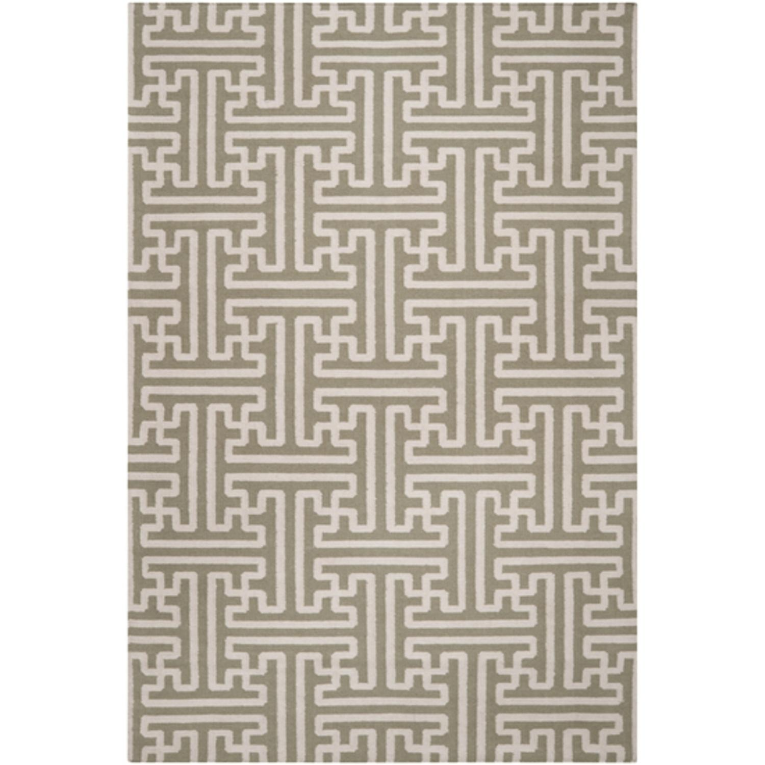 5' x 8' Block Pillars Winter White and Khaki Green Wool Area Throw Rug