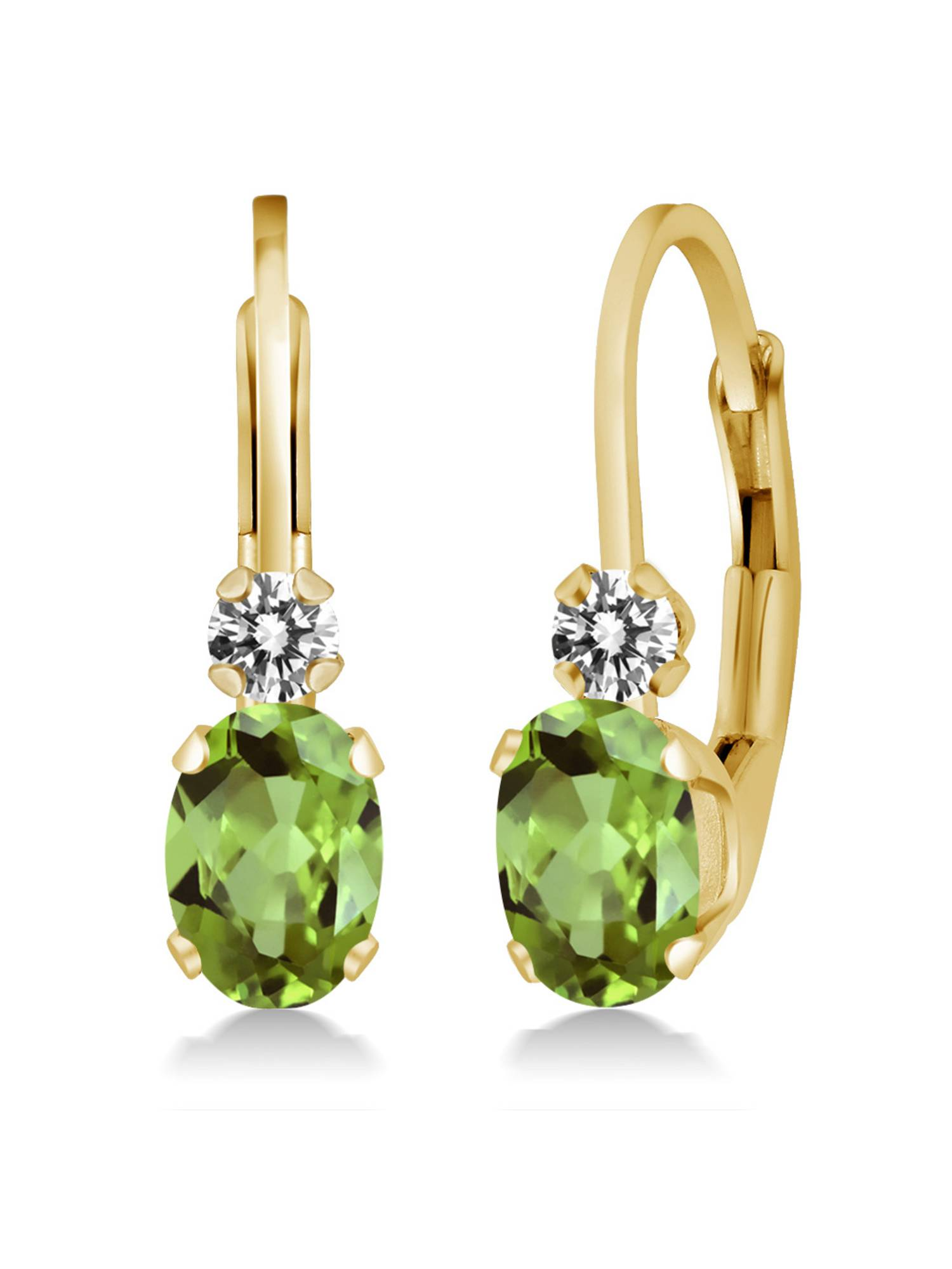 1.07 Ct Oval Green Peridot White Diamond 14K Yellow Gold Earrings