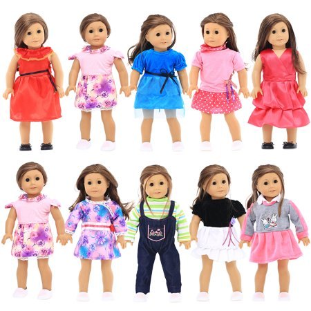 18 inches Doll Clothes 10 Different Unique Styles Well Fit for American Girls Doll, Doll and Me, My Life Doll, and My Generation Doll by Party Zealot (American Girl Clothes)