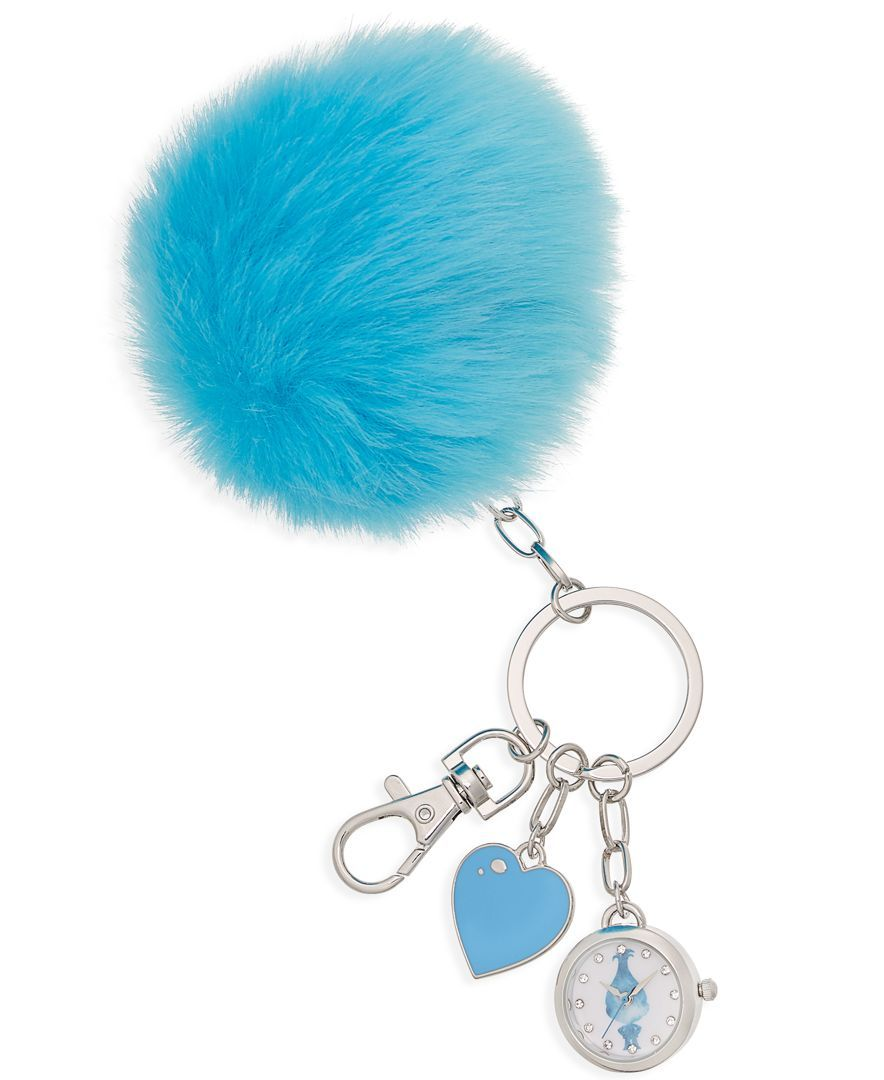 DreamWorks Trolls Women's Faux-Fur Pom Pom 23mm Keychain Watch, Blue