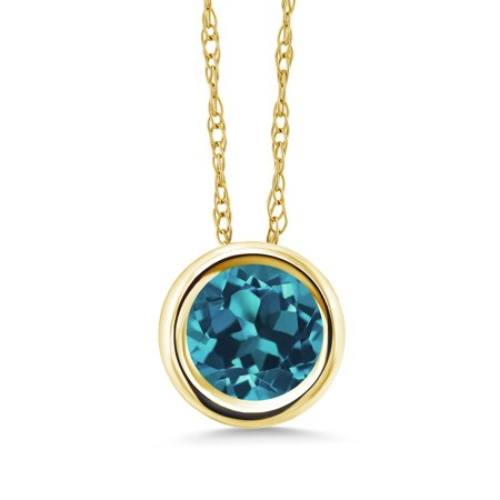 Round Blue Topaz Stone Pendant (1.05 Ct Round London Blue Topaz 14K Yellow Gold Pendant With Chain )