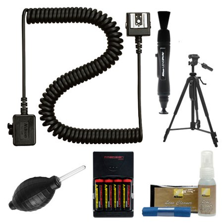 Nikon SC-28 Off Camera TTL Remote Flash Cord + Tripod + Cleaning Kit for Speedlight SB-400, SB-500, SB-900 & SB-910