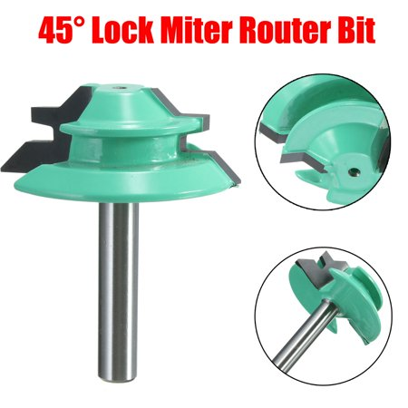 45° Degree Lock Miter Router Bit 1/4' Shank 1-1/2' Cutting Diameter Woodworking Chisel Cutter Tool