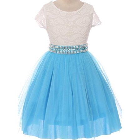 Flower Girl Dress Shiny Mesh Skirt with Pearl & Rhinestone for Big Girl Turq 12 JKS.2045 (Full Skirt Flower Girl Dresses)