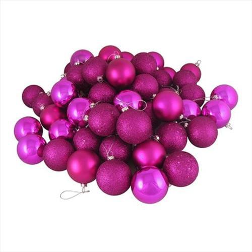 NorthLight 32 Count Shatterproof Light Magenta Pink 4-Finish Christmas Ball Ornaments - 3. 25 inch