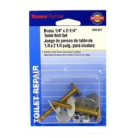 """5PK Master Plumber 1/4"""" x 2-1/4"""" Brass Toilet Bolt With Nuts"""