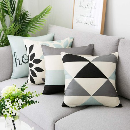 Wendana Throw Pillow Cases Decorative Soft Square Geometric Style Throw Pillow Cover Cushion Case for Sofa 18 x 18 Inch Set of 4 ()