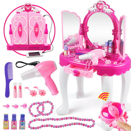 Princess Dressing Makeup Table Princess Girls Kids Vanity Table and Chair Beauty Play Set with Mirror Working Hair Dryer Pretend Princess Girls Makeup Accessories  Pink Birthday Gift - Childrens Dressing Up Accessories