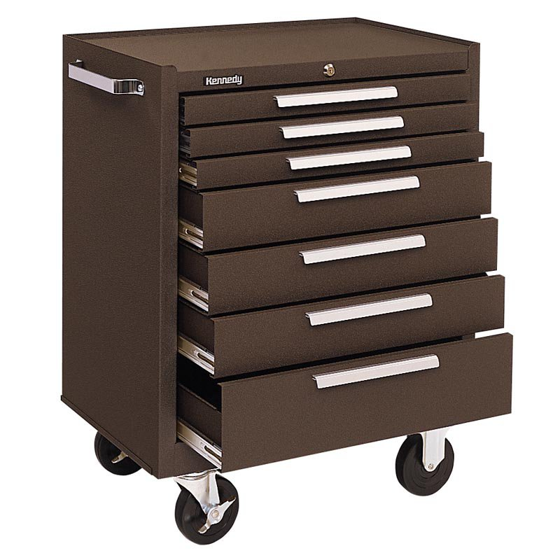 Kennedy  Drawer Roller Cabinet Brown With Friction Slides