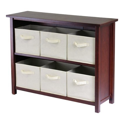 Winsome Verona 2-Section W Storage Shelf Bookcase with 6 Foldable Beige Fabric Baskets