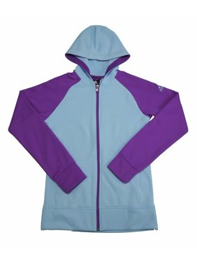 adidas Girls Size 16 Long Sleeve Full Zip Hoodie, Frozen Blue/Shock Purple