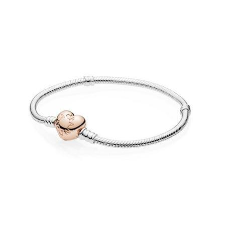 Sterling Silver w/ Rose Heart Clasp, 21 cm / 8.3 in Bracelet 21 cm 580719-21 ()