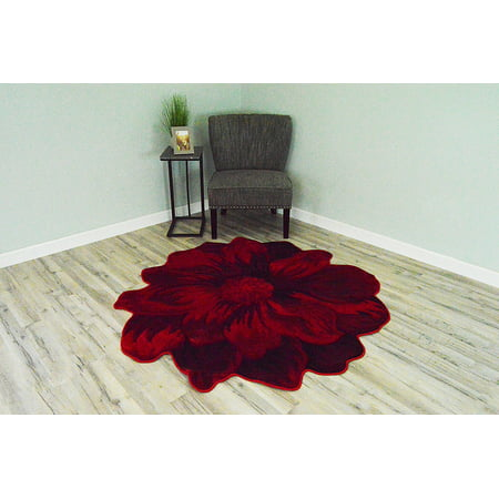 FLOWERS 3D Effect Hand Carved Thick Artistic Floral Flower Rose Botanical Shape Area Rug Design 305 Red 2