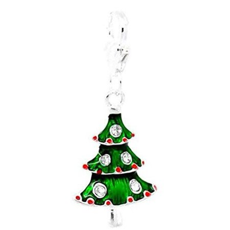 Christmas Tree Charm - Clip on Christmas Tree Charm for European Jewelry w/ Lobster Clasp