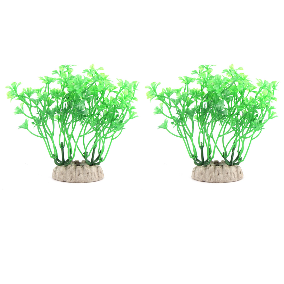 Fish Bowl Aquarium Ceramic Base Plastic Underwater Plant Grass Landscaping 2 PCS