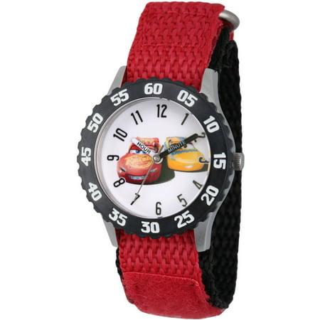 Black Bezel Watch - Disney Cars 3 Lightning McQueen and Cruz Ramirez Boys' Stainless Steel Time Teacher Watch, Black Bezel, Red Hook and Loop Nylon Strap with Black Backing