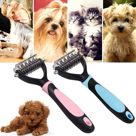 Magicfly Pet Dog Cat Grooming Tool -Professional Pet Grooming Undercoat Rake Comb Dematting Brush Stripping Tools, Double Teeth Double Sided, TPE + PP, 11 Teeth