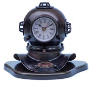 Handcrafted Nautical Decor Divers Helmet Clock on Base