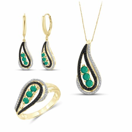 Gold Emerald Set (JewelersClub 1.00 Carat T.G.W. Emerald And Black & White Diamond Accent 14k Gold Over Silver 3-Piece Jewelry Set )