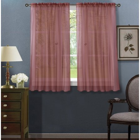 2pc Brick Solid Sheer Voile Window Curtain Set, Two (2) Rod Pocket Panels 55