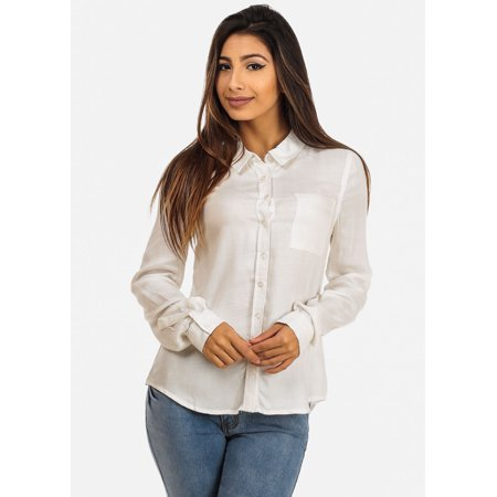 Womens juniors classic career long sleeve button down for Womens white button down shirt