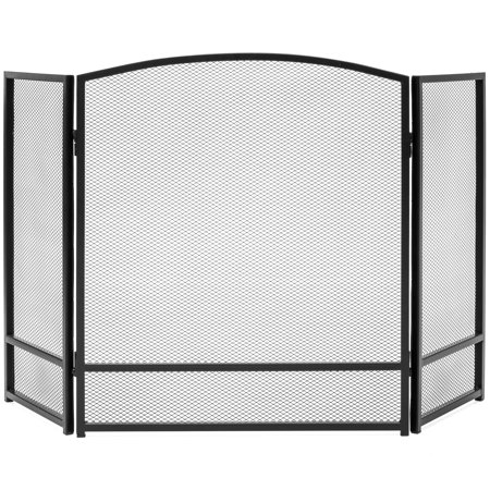 Best Choice Products 3-Panel Living Room Steel Mesh Simple Design Fireplace Screen Decor w/ Rustic Worn Finish - Black - Holders Fireplace Decor