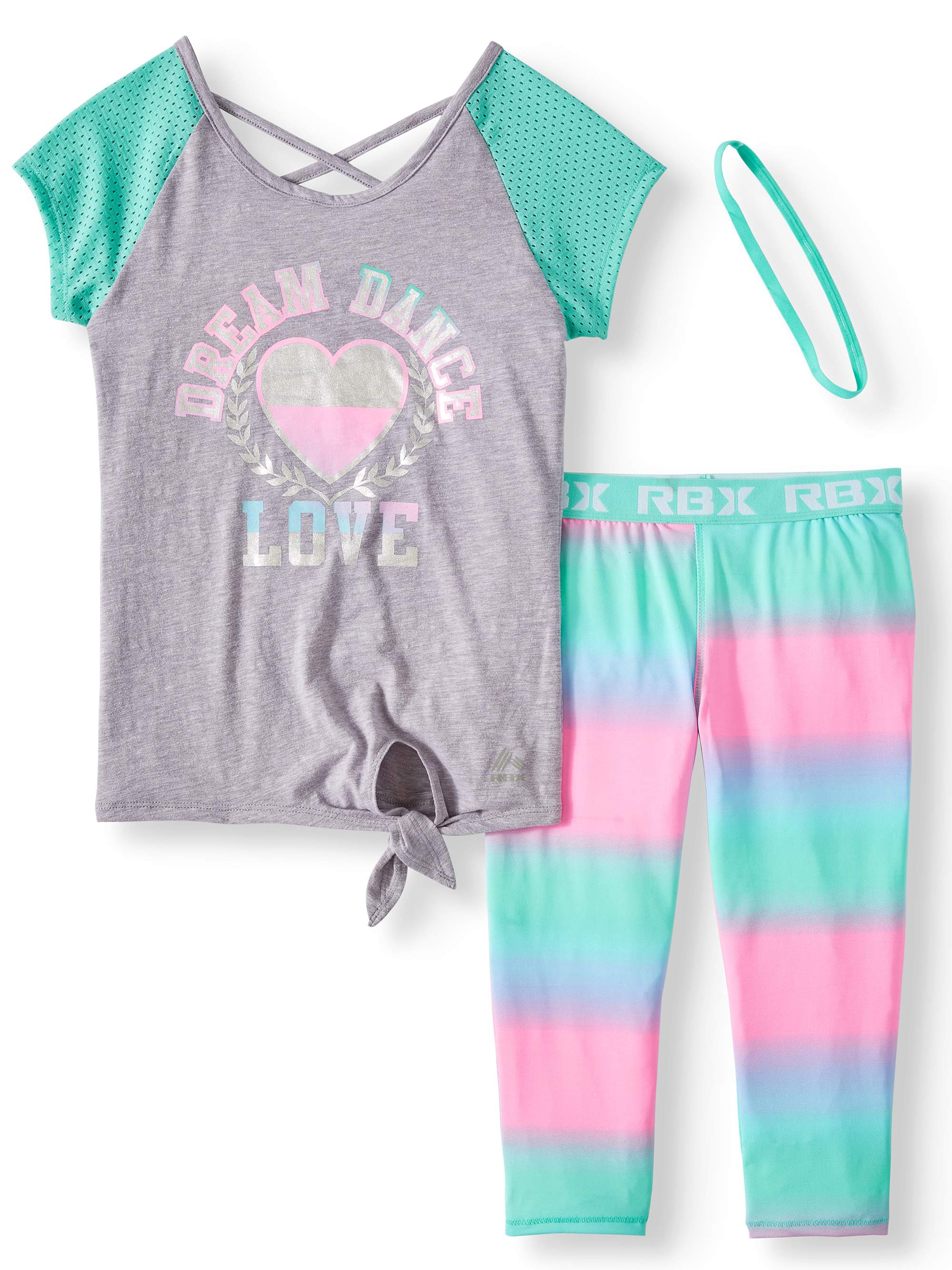 Mesh Sleeve Graphic Top and Ombre Capri Legging, 2-Piece Active Set (Little Girls & Big Girls)