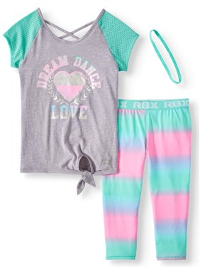 ff3aed76c78c Product Image Mesh Sleeve Graphic Top and Ombre Capri Legging, 2-Piece  Active Set (Little