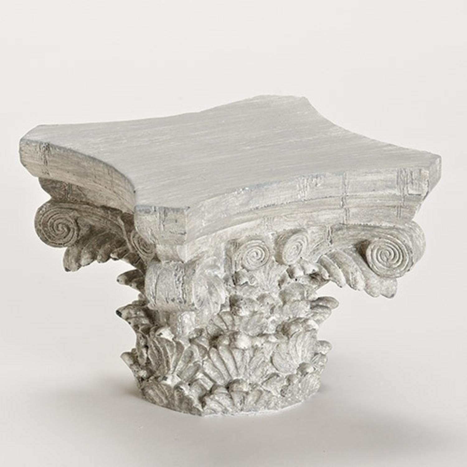 "9.5"" Small Gray Weather-Finished Decorative Pedestal Display Stand"