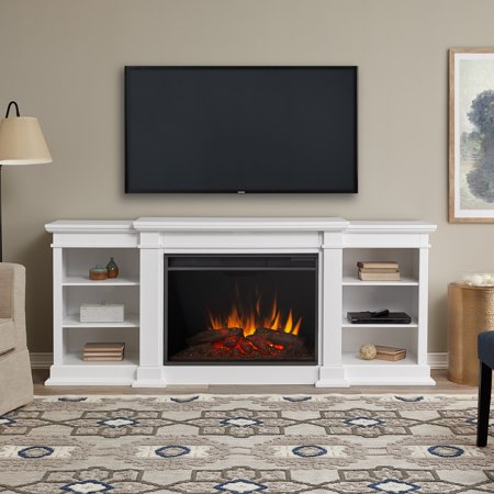 Eliot Grand Entertainment Center Electric Fireplace in White by Real Flame ()