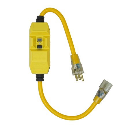 Coleman Cable Yellow Jacket In-Line Gfci With 2 Ft. 12/3 Sjtw Cord And Lighted Receptacle, Yellow