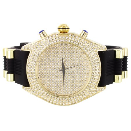Iced Out 14K Gold Finish Rapper Style Simulated Diamond Techno Pave Mens Watch