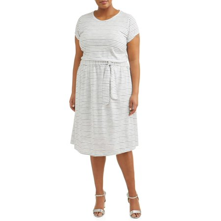 Sleeve Knitted Dress - Women's Plus Size Short Sleeve Knit Tie Waist Dress