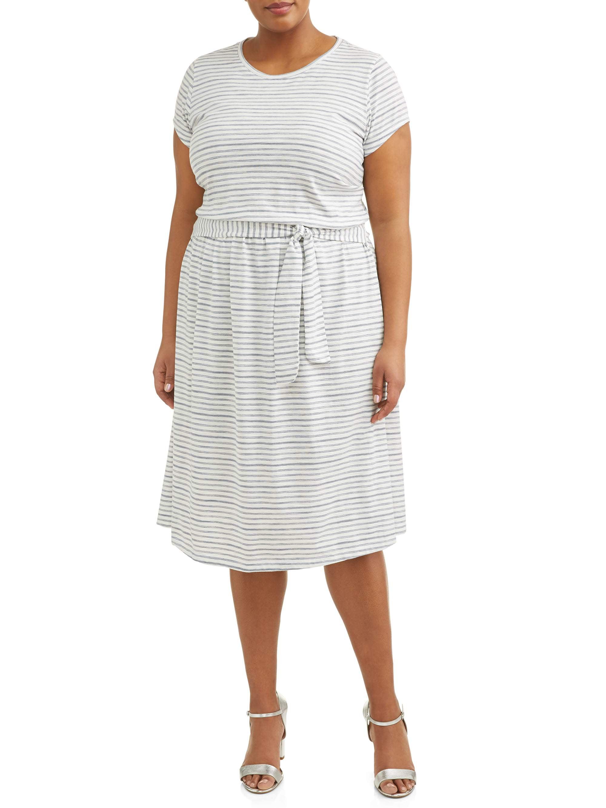 Women's Plus Size Short Sleeve Knit Tie Waist Dress