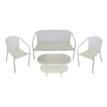 4 Piece White Resin Wicker Patio Furniture Set 52