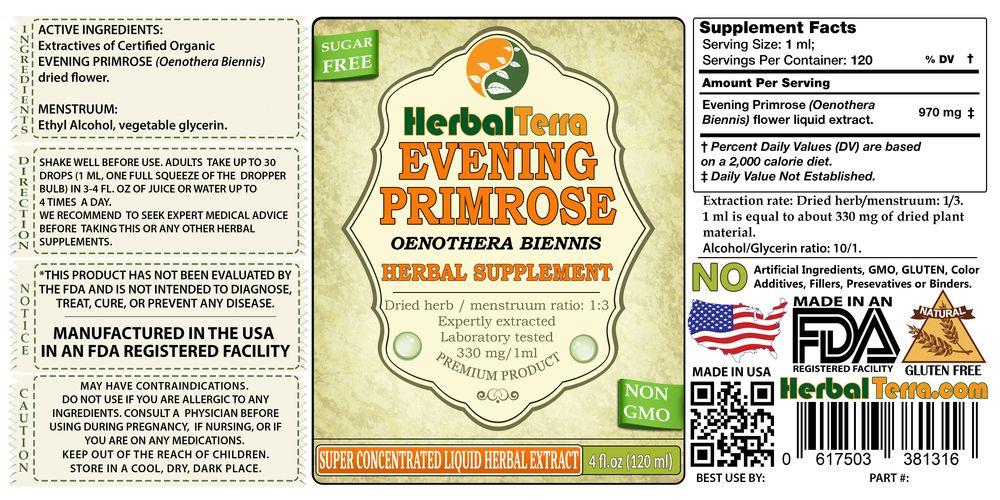 Evening Primrose (Oenothera Biennis) Tincture, Dried Flowers Liquid Extract  (Herbal Terra, USA) 4 oz