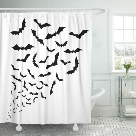 KSADK Dracula Swarm of Bats On The White Silhouette Halloween Shadow Vampire Shape Scary Shower Curtain Bath Curtain 60x72 inch - Scary Halloween Window Silhouettes