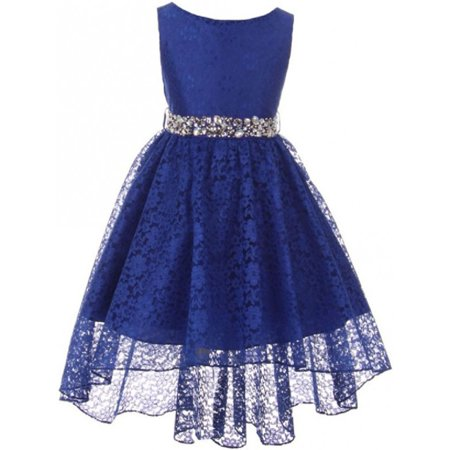 Girl Dress - Rhinestone Belt High Low Lace Pageant Graduation Flower Girl Dress Royal size 4 (Size 4-18)