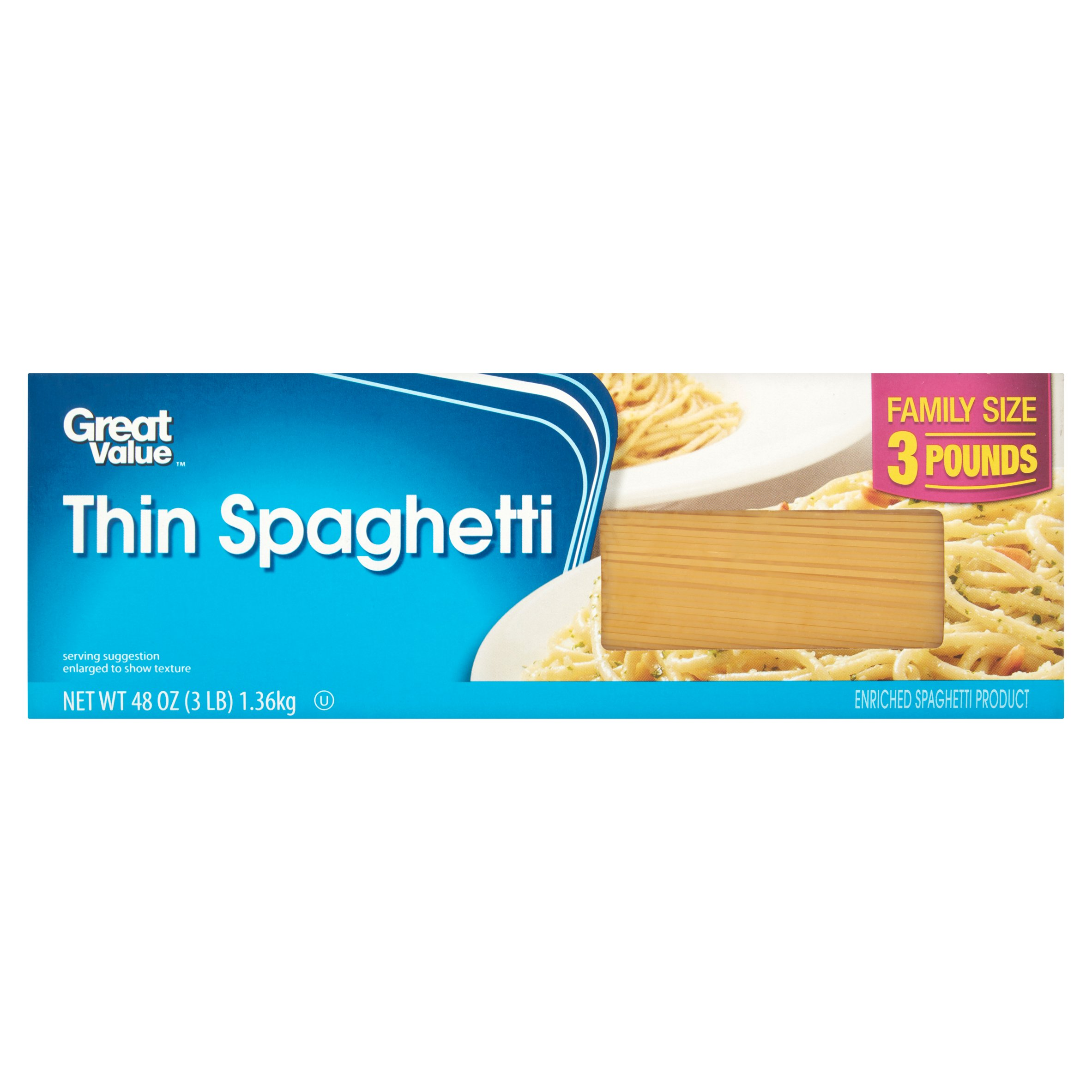 Great Value Thin Spaghetti, Family Size, 3 lb