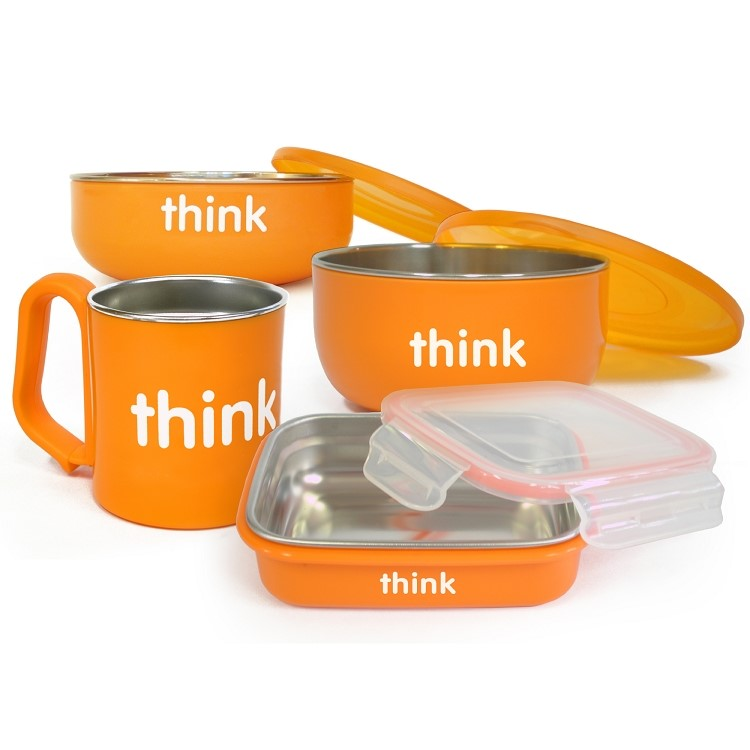 Thinkbaby Feeding Set, Orange, 4-Piece Set by Thinkbaby