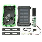 20000mAh DIY Waterproof Solar Power Bank 2 USB Charger Case Kit + LED No Battery
