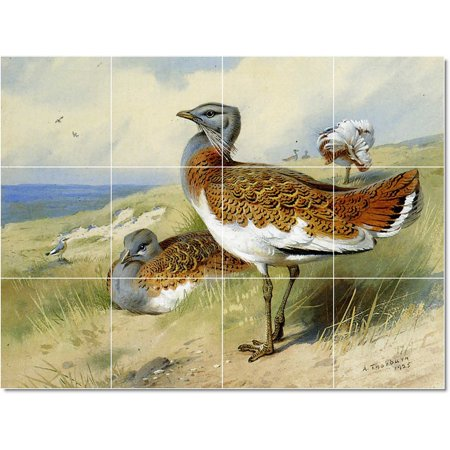 Ceramic Tile Mural Archibald Thorburn Birds Painting 15 48 w x 36 h u