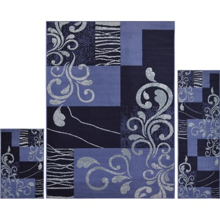 Blue Passion Vine - Black Blue Transitional Vines 3PC Rug Set - Area Rug (5' x 7'), Runner (2' x 5'), Accent Mat (2' x 3')