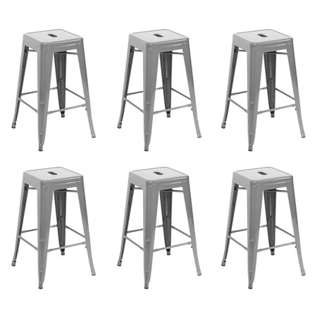 Belleze 26 Inch Metal Counter Stools Stackable Heavy Duty Seat Stool Gray Set