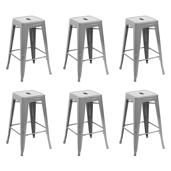 Magnificent Belleze 26 Inch Metal Counter Stools Stackable Heavy Duty Seat Stool Gray Set Of 6 Pabps2019 Chair Design Images Pabps2019Com