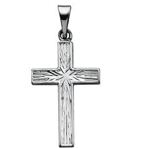 14K White Cross Pendant