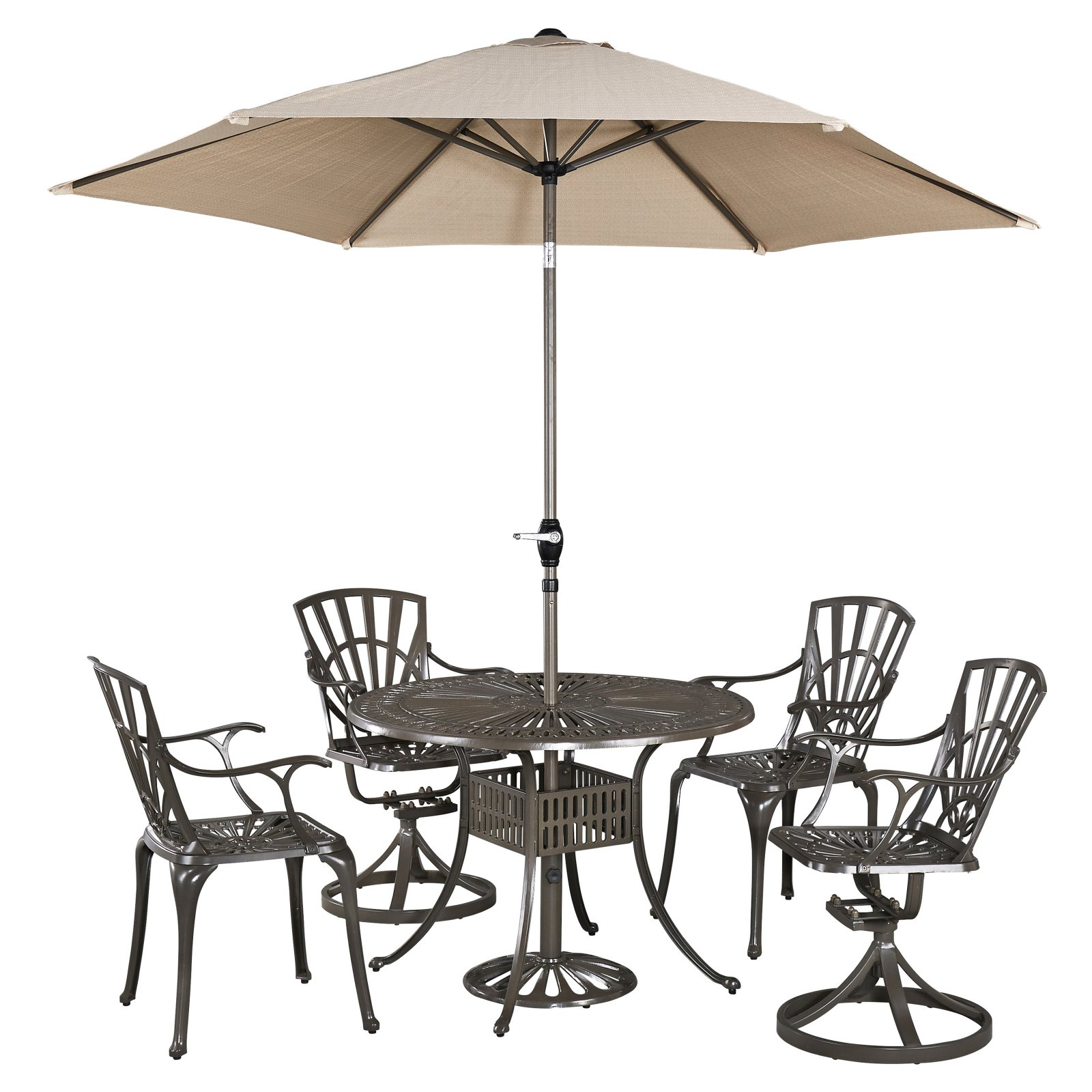 Home Styles Largo Cast Aluminum 42 in. 5 Piece Round Patio Dining Set with