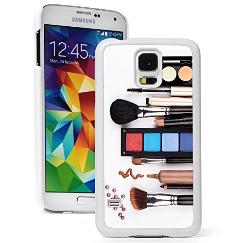 Samsung Galaxy (S5 Mini) Hard Back Case Cover Makeup Artist Brush Cosmetics (White)